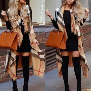 Jackets & Blazers - Plaid vest NEW  very stylish! long! lightweight